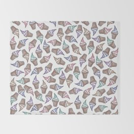 Summer Ice Cream Swirly Cones Watercolor Pattern Throw Blanket