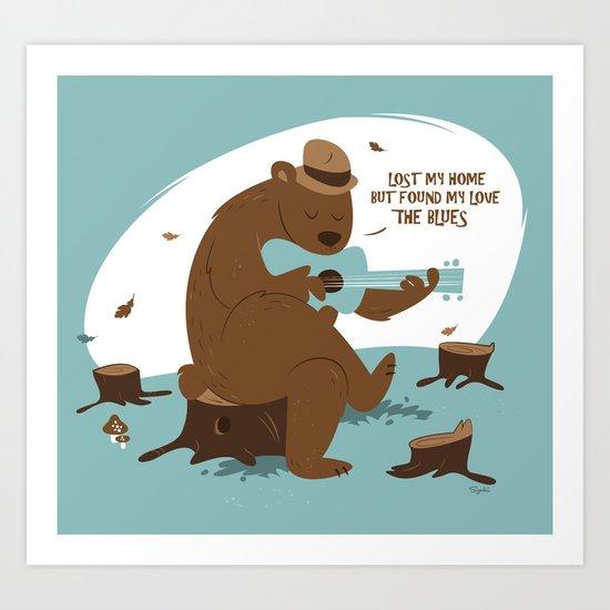 Brown Bear Blues Art Print