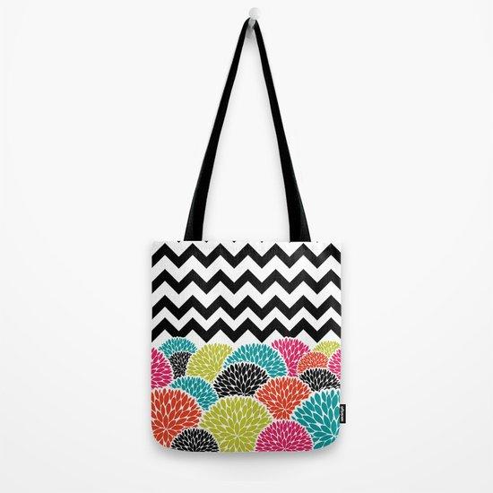 Tropical Flowers Chevron Tote Bag