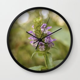 Purple Flowers in Sunrise (Vintage) Wall Clock