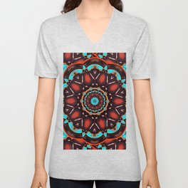 Abstract - Wood & Turquoise Pattern Unisex V-Neck