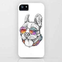 Bulldog Graphic Art Print. Bulldog in glasses iPhone Case