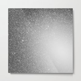 Galaxy Stars Ombre : Black Slate Gray Metal Print