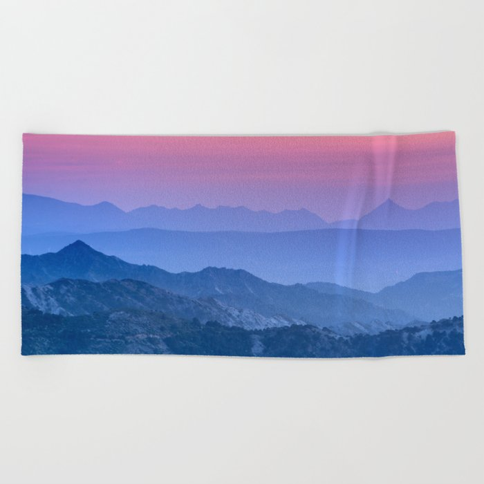 """Mountain dreams"". At sunset. Beach Towel"