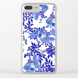 BLUE AND WHITE ROSE LEAF TOILE PATTERN Clear iPhone Case