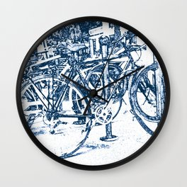 Blue Bicycles Wall Clock