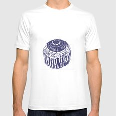Tea cake (blue) White MEDIUM Mens Fitted Tee