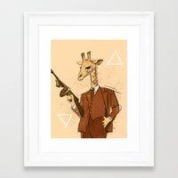 gangster Framed Art Prints featuring Gangster Giraffe by Ichorteeth