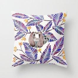Happy Sloth – Tropical Indigo Leaves Throw Pillow