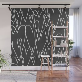 Doodle Hearts in Black by Friztin Wall Mural