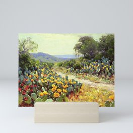 Yellow and Red Cactus Blossoms in the Desert Landscape painting by Robert Julian Onderdonk Mini Art Print
