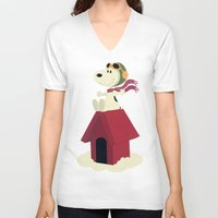 snoopy V-neck T-shirts featuring Snoopy - Red Baron by Ricardo A.