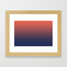 Pantone Living Coral & Blue Depth Gradient Ombre Blend, Soft Horizontal Line Framed Art Print