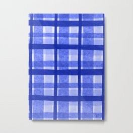 Tissue Paper Plaid - Blue Metal Print