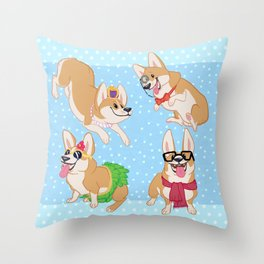 For the Love of Corgis Throw Pillow