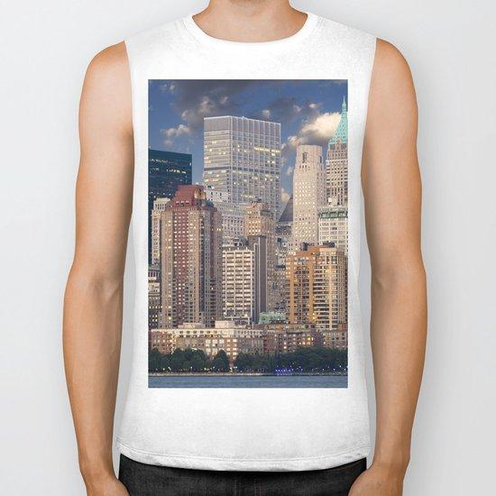 Downtown NYC at twilight Biker Tank