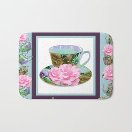 ABSTRACTED PINK ROSE TEA TIME BLUE PORCELAIN ART Bath Mat