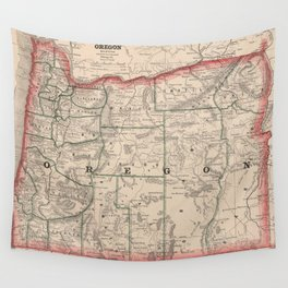 Vintage Map of Oregon (1883) Wall Tapestry