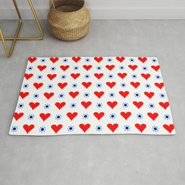 heart and star 5 - blue star and red heart Rug