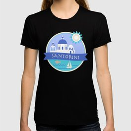 Santorini Greece Badge T-shirt