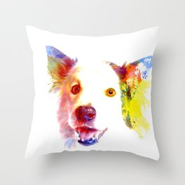 Welsh Border Collie Pop Art Throw Pillow