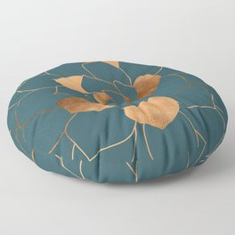 Abstract Metal Copper Blossom on Emerald Floor Pillow