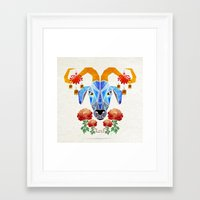 chinese Framed Art Prints featuring chinese goat by Manoou