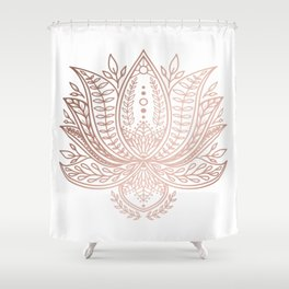 Botanical Lotus - Rose Gold Shower Curtain