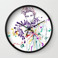 chill Wall Clocks featuring Chill by Sarah Soh