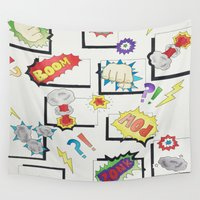 comic book Wall Tapestries featuring Comic Book by michaelrosen