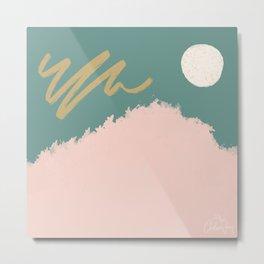 Abstract + Moon // Teal, pink + gold Metal Print