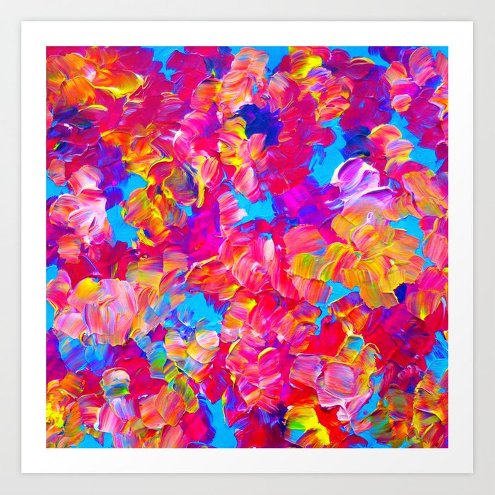 Floral Fantasy Bold Abstract Flowers Acrylic Textural Painting Neon Pink Turquoise Feminine Art Art Print By Ebiemporium