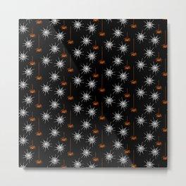 Spiders & Webs-Black Orange Metal Print