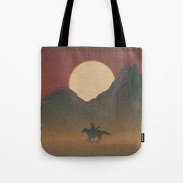 Roaming Paladin: Red Dusk, Cowboy On Horseback Western Sunset Tote Bag