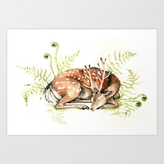 Sleeping Deer Art Print