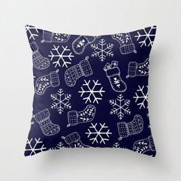 Navy blue and white Christmas snowflakes stockings  Throw Pillow