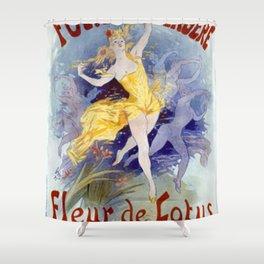 Folies Berg Res Fleur De Lotus 1893 By Jules Cheret | Reproduction Art Nouveau Shower Curtain