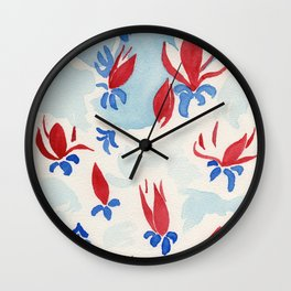 Magnolias in red Wall Clock