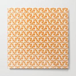 Halloween Ghost Pattern over Orange Background Metal Print