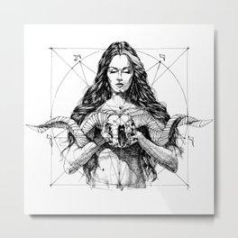 Lady with Skull. Yury Fadeev. Metal Print