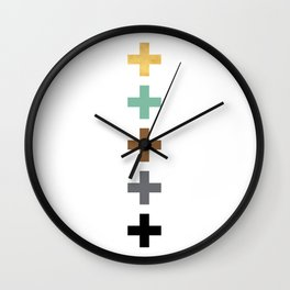 ABSTRACT PLUS POSTIVE SYMBOLS GEOMETRY Wall Clock