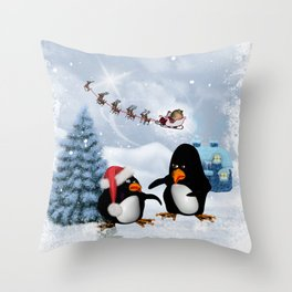 Funny penguin Throw Pillow