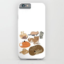 Line animals with paint spots iPhone Case