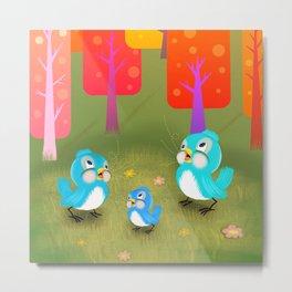 Happy Little Bluebirds Sing Their Song Metal Print