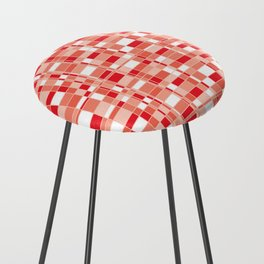 Mod Gingham - Red Counter Stool