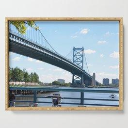Benjamin Franklin bridge in Philadelphia Serving Tray