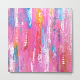 Abstract pink with fish bones Metal Print