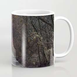 Extended wooden foot bridge through the forest Coffee Mug