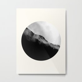Mid Century Modern Round Circle Photo Black And White Misty Pine Trees Cliff Metal Print