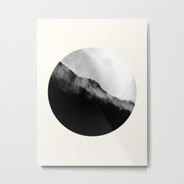 Mid Century Modern Round Circle Photo Black And White Misty Pine Trees Cliff Metal Print